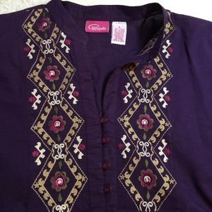 Pappagallo Purple Peasant Embroidered Blouse L